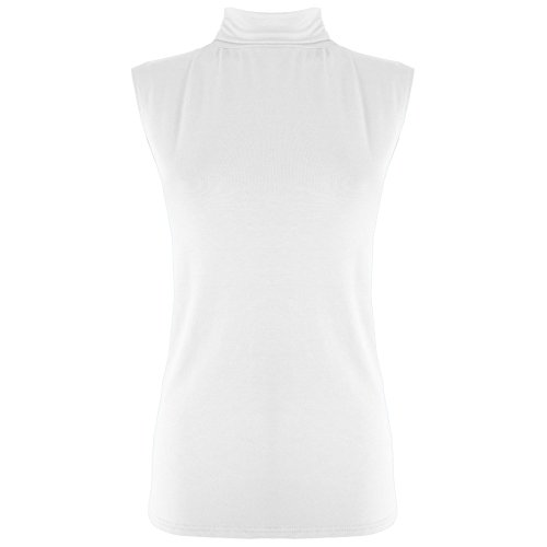 Oops Outlet Women's Sleeveless Plain Turtle Neck Fitted T Shirt Top Plus Size (US 12/14) White (Oops Outlet)