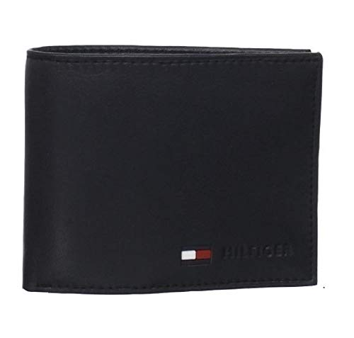 Tommy Hilfiger Coin Pocket Wallet - Genuine Leather Slim Single Fold Bifold for Men with Small Pouch ,Black