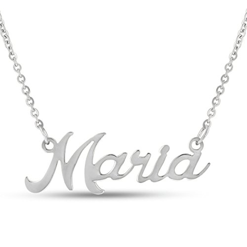 Maria Nameplate Necklace In Silver Tone