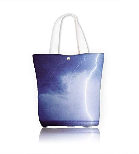 Canvas Tote Bag Seascape with bright lightning in dark blue sky Hanbag Women Shoulder Bag Fashion Tote Ba W12xH14xD4.7 INCH