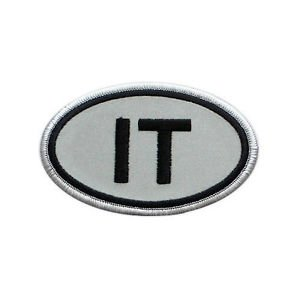 It Italy Italia Reflective Embroidered Patch Gray-Black Iron-On Emblem 4'' by Patches