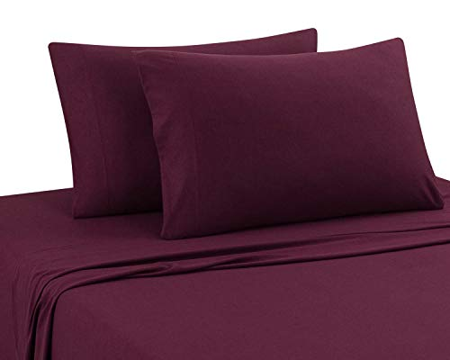 DELANNA Jersey Knit Sheet Set Soft, Breathable, Cotton Rich T-Shirt Weave (RED, King) (Size King Fitted Jersey Sheet)