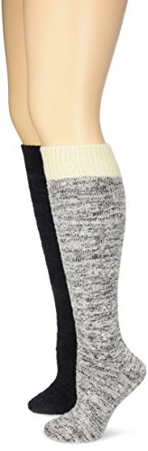 Soft Knee High Socks (Wool IQ Women's Warm Super Soft Feather Yarn Knee High Sock 2-Pack, Black/Chocolate,)