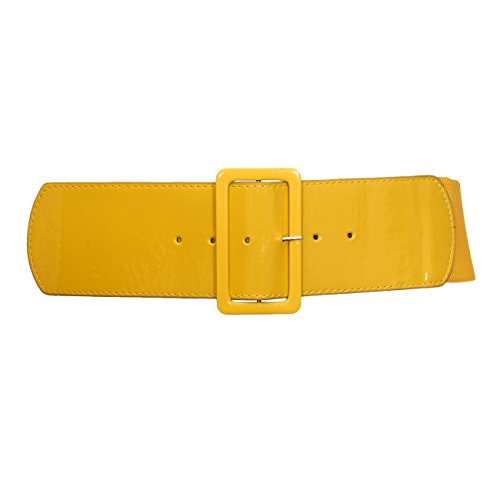 eVogues Plus Size Wide Patent Leather Fashion Belt Yellow - One Size Plus