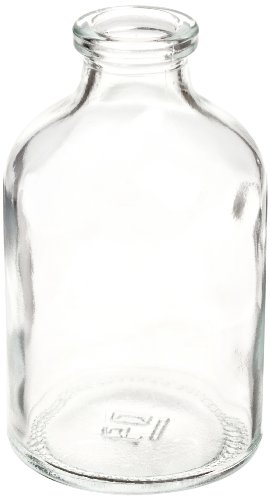 Wheaton 223745 Serum Bottle 50mL, Clear Borosilicate Glass, Mouth Dimensions: 13mm ID x 20mm OD, Bottle Dimensions: 43mm Diameter x 73mm Height (Case of 288)