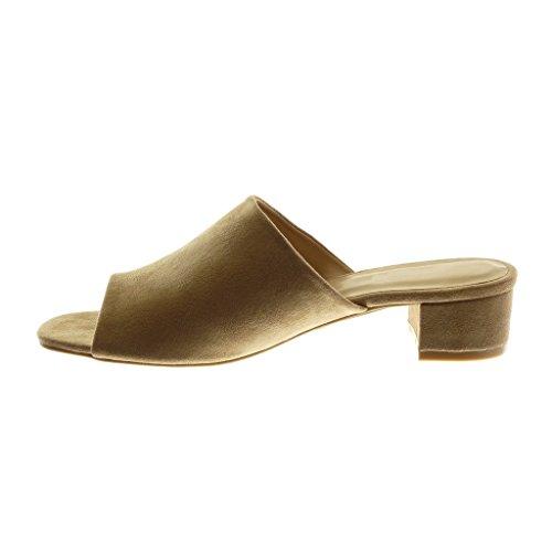 a Peep Moda Angkorly cm Tacco 4 Khaki Sandali on Alto Toe Mules Scarpe Blocco Slip Donna YxYwv5Tq