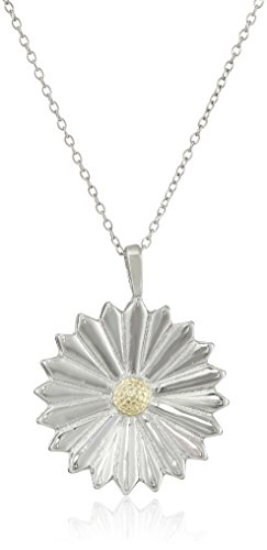 "Sterling Silver ""Two-Tone"" Daisy Pendant Necklace, 18"""