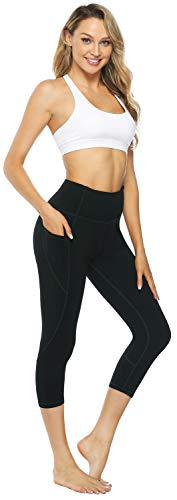 Persit Yoga Pants for Women High Waisted Workout Capri Leggings with Pockets Athletic Gym Yoga Leggings - Black - S