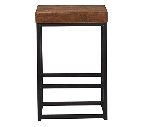- Wood & Style Pine & Iron Porter Counter Stool Rustic Mahogany/Antiqued Bronze Iron Decor Comfy Living Furniture Deluxe Premium Collection