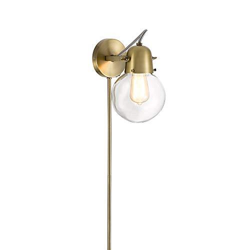 Sconce Modern Glass - Rivet Mid-Century Modern Gold 1-Light Plug-In Wall Sconce, 9.75