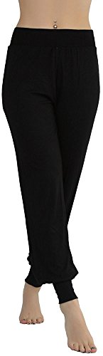 tobeinstyle-womens-stretchy-seamless-harem-pants-with-cuffed-ankles-black-m