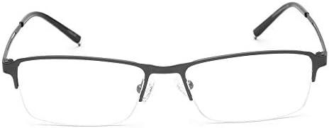 遠近両用老眼鏡ハーフフレームファッションビジネスリーダー男性と女性グレー+1.50強度