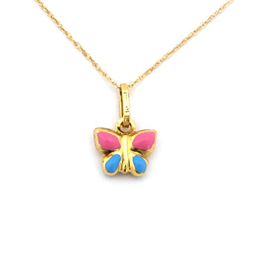 Girl's 14k Yellow Gold Enamel Butterfly Pendant Necklace - 18'' by Beauniq