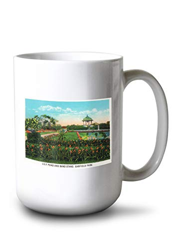 Lantern Press Chicago, Illinois - View of Garfield Park Lily Pond and Band Stand (15oz White Ceramic Mug)