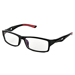 Beison Sports Optical Eyeglasses Frame Plain Glasses Clear Lens UV400 (Shiny black, 53mm)