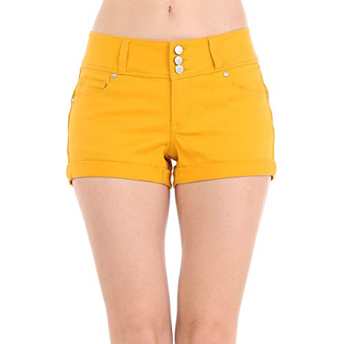 Wax Women's Juniors Stetchy Mid Rise Denim Shorts, New Mustard, ()
