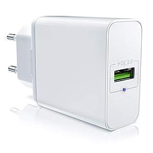 CSL – Cargador USB con función de Carga rápida – Fuente de alimentación con Quick Charge 3.0 – Smart Charge Solid Charge – Adecuado para teléfonos móviles, Smartphones, tabletas, etc.