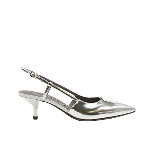 Baldan Silver Leather Kitten Heel Slingback W/Ornament Size 36 k0fEjxHKa4