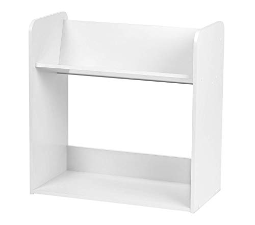 Wood & Style Office Home Furniture Premium 2-Tier Tilted Shelf Book Rack, White