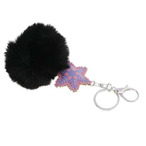 NATFUR Faux Fur Ball Plush Pendant Bag Car Key Plush Ball Pendant Keychain Key Ring Pretty Novelty Cute for Men for Gift Novelty Beautiful | Color - Black
