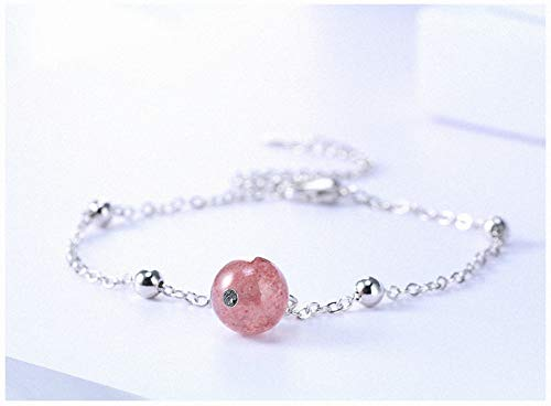 Womens Bracelets 925 Sterling Silver Pink Strawberry Crystal Round Bead Pendant Bracelet for Women Girl Birthday Jewelry Accessories 01