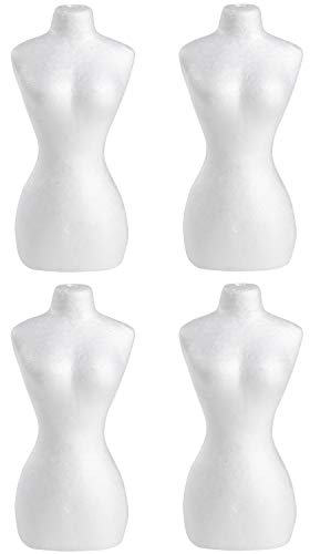 Craft Foam Body Model - 4-Pack Mini Mannequin, Blank Polystyrene Foam Doll, for Displaying Necklaces, Accessory, Art Craft DIY, Kids Art Class, Home Decoration, White, 3.25 x 2.25 x 7 Inches
