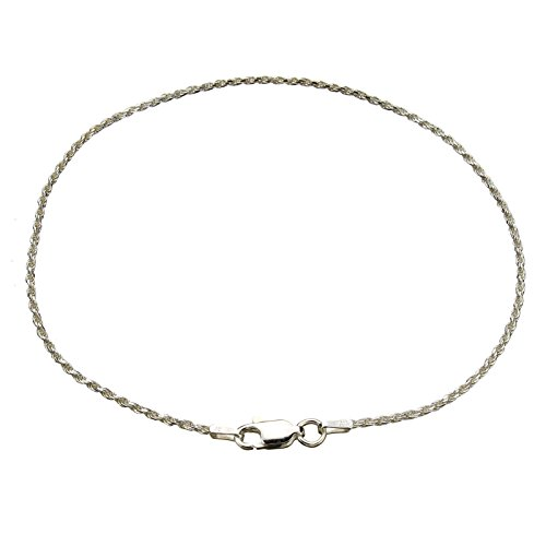 Sterling-Silver-15mm-Diamond-Cut-Rope-Nickel-Free-Chain-Anklet-Italy