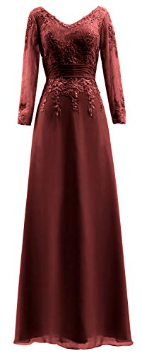 of Women Sleeves Evening Dress Bride Lace Long Burgundy V MACloth Mother Gown The Neck Fqg6XX