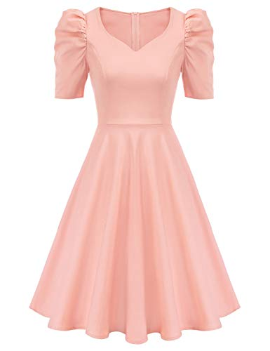 GRACE KARIN Women's Vintage Elegant Sweetheart Neck Puff Sleeve Cocktail Party Dresses with Pockets