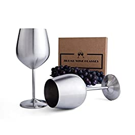 Stainless Steel Stemmed Wine Glasses – 18 oz Shatter Proof Copper Coated Unbreakable Wine Goblets (Set of 2)