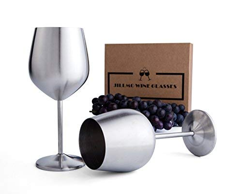 Jillmo Stainless Steel Stemmed Wine Glasses, Set of 2, 18 oz Shatterproof Wine Goblets- Dishwasher Safe Unbreakable, Great for Daily, Formal & Outdoor Use (Wine Steel Glasses Stainless)