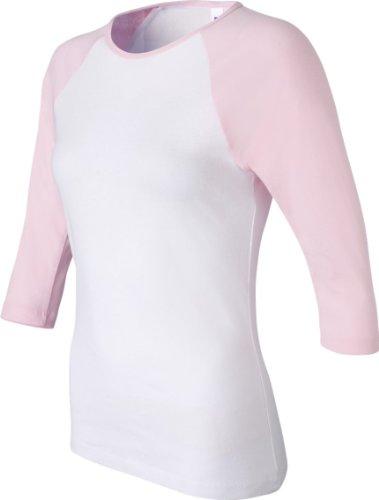 Bella Baby Rib 3/4 Sleeve Contrast Raglan Baseball T-Shirt. 2000 - Small - White / Pink