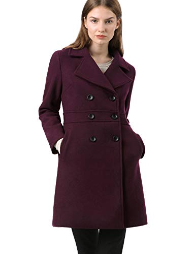 Allegra K Women's Double Breasted Notched Lapel Long Winter Coats Burgundy L US 14