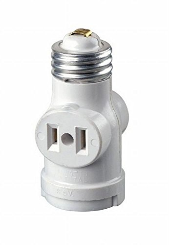 Base Outlets (Leviton R52-01403-00W 15 Amp White Medium Base Lamp Holder Outlet Adapter)