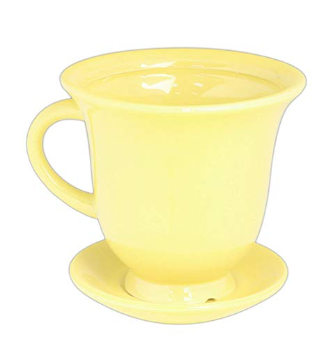 Bright Yellow Ceramic Mug with Attached Saucer