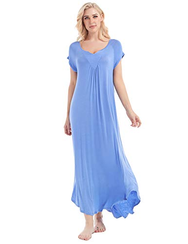 AMONIDA Sleeveless Long Nightgowns for Women Cotton Petite v Neck Sleepwear Pajamas S Purple