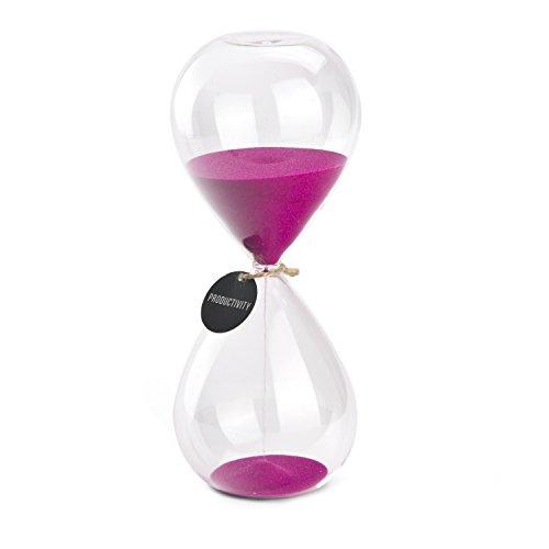 Hourglass Sand Timers - SWISSELITE Biloba Hourglass Sand Timer, 8.1 Inch Rose Red Sand Timer In 30 Mins (Hour Red Glass)