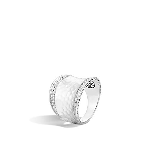 John Hardy Women's Classic Chain Hammered Silver Diamond Pave (0.27ct) Small Saddle Ring, Size 6