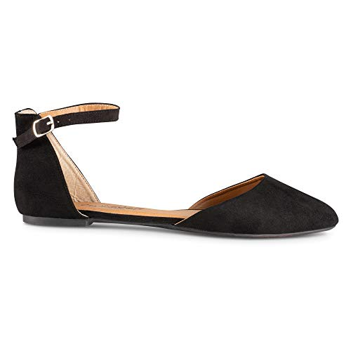 Ballet Flat Almond Twisted Strap with Suede Womens Toe Black Faux Ankle BawanH1qF