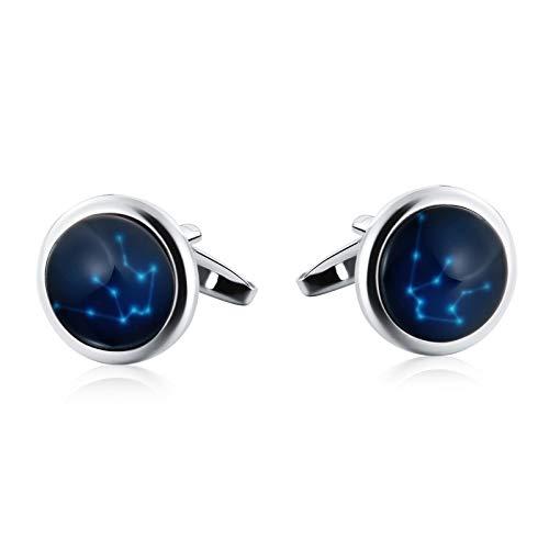 (Adisaer Mens Cufflinks Vintage Stainless Steel Blue Luminous Constellation Virgo Formal Business Wedding Shirts Cufflinks)