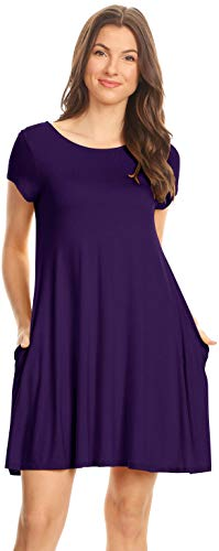(Simlu Womens Eggplant Casual Dress Purple Short Sleeve Regular and Plus Size Dresses T Shirt Dress with Pockets,Eggplant,X-Large)