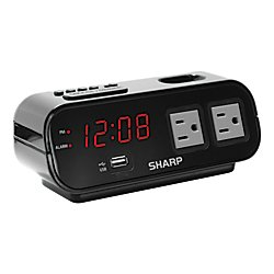 Sharp Digital Alarm Clock with USB Port and Outlets, 2 15/16in.H x 7 1/2in.W x 3in.D, Black