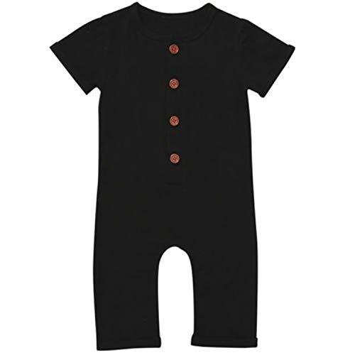 (Jinbaolong Sale Cotton Newborn Baby Boy Girl Romper Short Sleeve Solid Color Button One Piece Jumpsuit Clothes 0-24M)