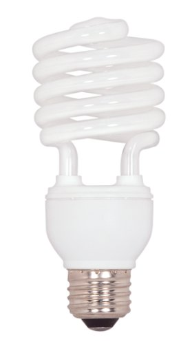Satco S7227 23-Watt Medium Base T2 Mini Spiral, 2700K, 120V, Equivalent to 100-Watt Incandescent Lamp for Enclosed - Spiral 23w