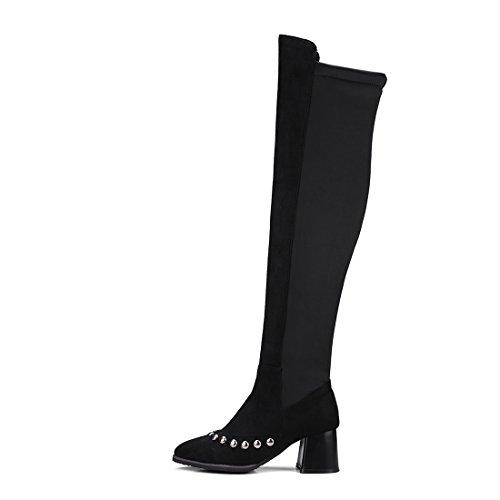 Cuissarde Rivets Pour En Uh Moyenne De Bloc Noir Hiver Bottines Bout Suede Avec Mode Pointu Talons À Femmes Chaussures YwYqA1Ig