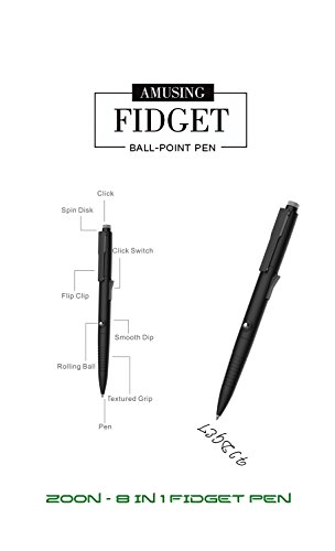 Fidget Pen - 3 Extra Blue and Black Refill - 8 In 1 Features (New Gen) - Professional Looking Ballpoint Pen for Adults & Kids in a Regular Size - by Zoon (Black)