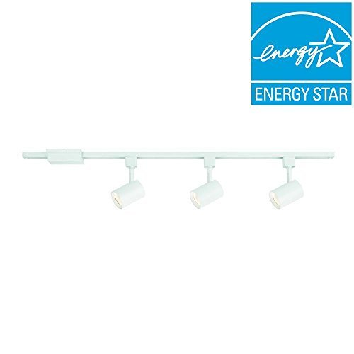 Hampton Bay 44 in. 3-Light White Integrated LED Track Lighting Kit with Cylinder Metal (White 3 Led Cylinder)