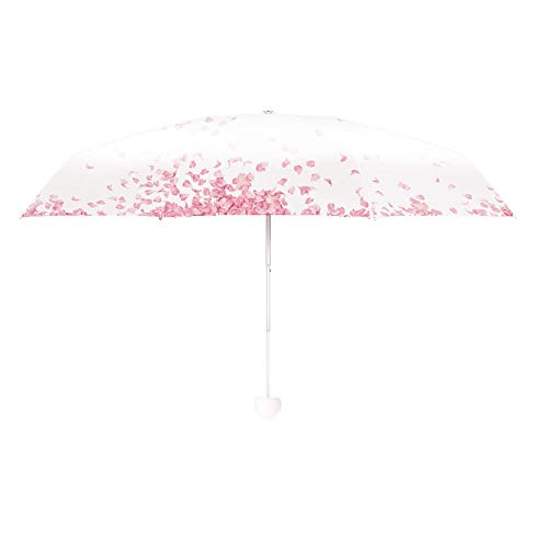 MUTSALAK White Five fold Umbrella --95% Anti-UV Lightweight Compact Small Folding Sun Umbrellas- Cherry Blossom Double Layer Simple Series