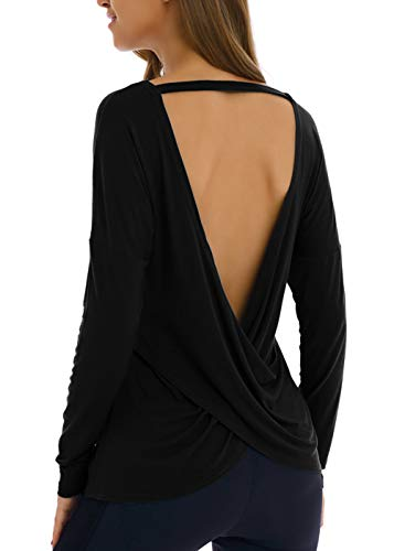 Yucharmyi Open Back Tank Top Yoga Tops Long Sleeves Shirts Activewear Exercise Fitness Yoga Tops for Women(Black,XL) ()