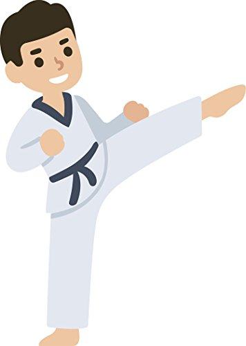 Happy Sporty Black Belt Karate Kid Cartoon Vinyl Sticker